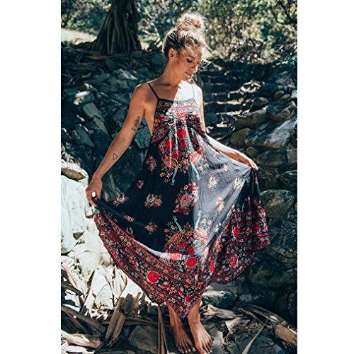 Ularmo® Femme Floral Imprimé Robe Longue Sans Manches, Robe de Soirée, Robe de Party (M, Noir) (S, Blanc) Noir