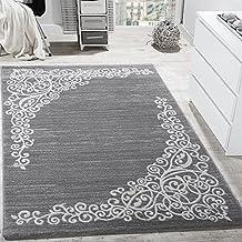 alfombra de diseo con hilo brillante motivo floral gris antracita blanco grssex cm