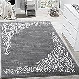 Paco Home Designer Teppich mit Floral Muster Glitzergarn Grau Weiß Anthrazit Meliert, Grösse:80x300 cm