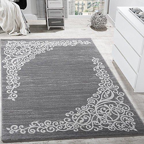 Alfombra De Diseño Con Estampado Floral En Hilo Brillante Mezclado Gris, Blanco Y Antracita, tamaño:80x150 cm