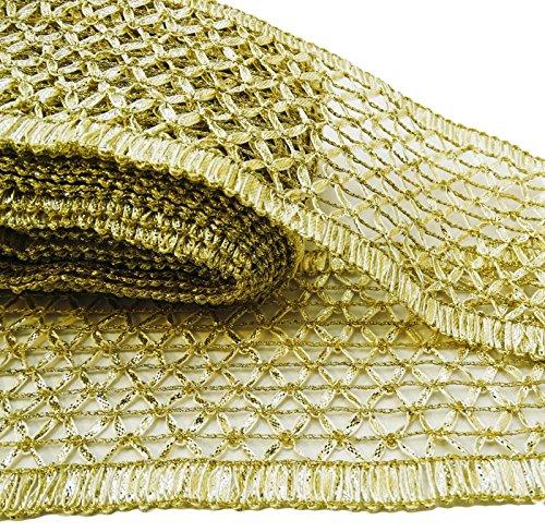 Gold Tone Trim Floral Craft Ribbon 7,8 cm Breite geflochtene Sari Grenze durch den Hof