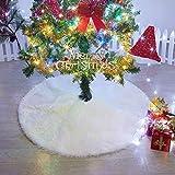 MACTING Weihnachtsbaum-Teppich, Kunstfell, 121,9 cm, weich, schneeweiß, Weihnachtsdekoration, Weihnachtsbaum-Rock