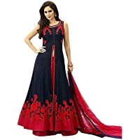BRIDAL4Fashion Women's Anarkali Knee Length Gown With Dupatta (Blue_Free size)