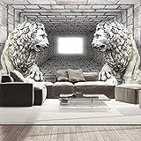Vlies Fototapete 400x280 cm - 3 Farben zur Auswahl - Top - Tapete - Wandbilder XXL - Wandbild - Bild - Fototapeten - Tapeten - Wandtapete - Wand - Ziegel Mauer Löwe 3D Tunnel d-A-0036-a-b