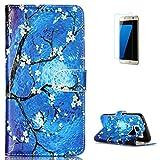 KaseHom Case for Samasung Galaxy S7 PU-Leder Etui magnetische Flip Hülle [Frei Schirm Schutz] (Ölgemälde Blume) Gemälde Entwurf Halfter [Ständer] Stoßfest Abdeckung