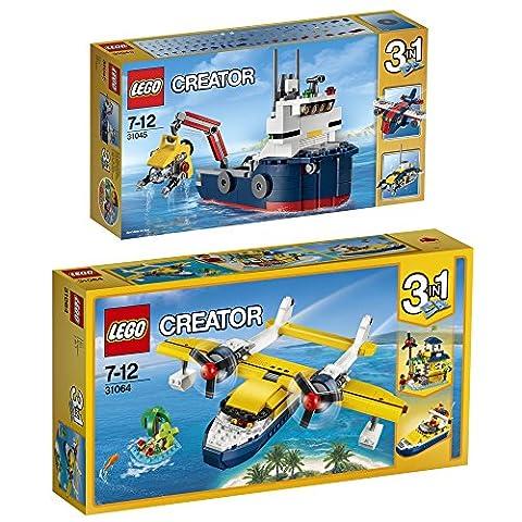 Lego Creator 3-in-1 2er Set 31045 31064 Erforscher der Meere + Wasserflugzeug-Abenteuer