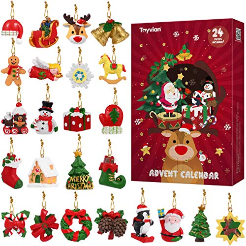 Toyvian Christmas Advent Calendar 2019 Countdown Calendar 24Pcs Hanging Ornaments,Animals Relief Toys,Xmas Countdown Christmas Decorations for Wall Christmas Tree
