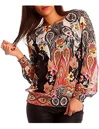 Damen Chiffon Bluse Hippie Blusenshirt