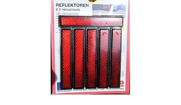 6pc Diamond Cut Red Mini Reflectors Self Adhesive NEW
