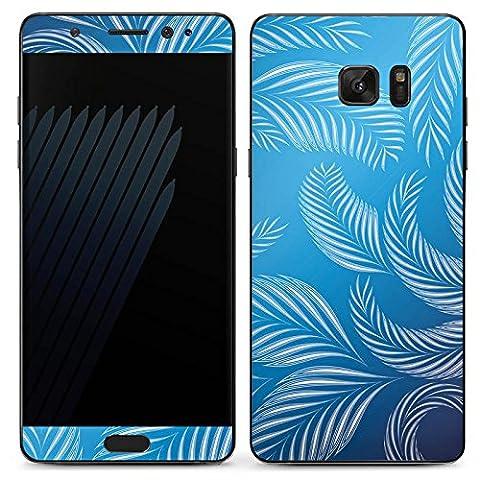 Samsung Galaxy Note 7 Case Skin Sticker aus Vinyl-Folie Aufkleber Palmen Blätter Blau