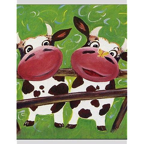 OFLADYH ® bambini dipinti olio stile mucca, materiale tela con telaio in legno pronto ad appendere formato: 70 * 70