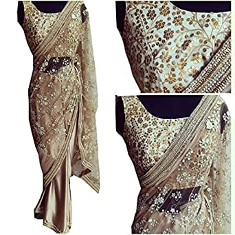 Sunshine Fashion Beige Color Naylon Mono Net Fabric Multiwork Saree ( New Arrival Latest Best Choice and Design Beautiful Sarees and Salwar suits and Dress Material Collection For Women and Girl Party wear Festival wear Special Function Events Wear In Low Price With Todays Special Offer with Fancy Pattern Designer Blouse and Bollywood Collection 2017 Good Looking Clothes )
