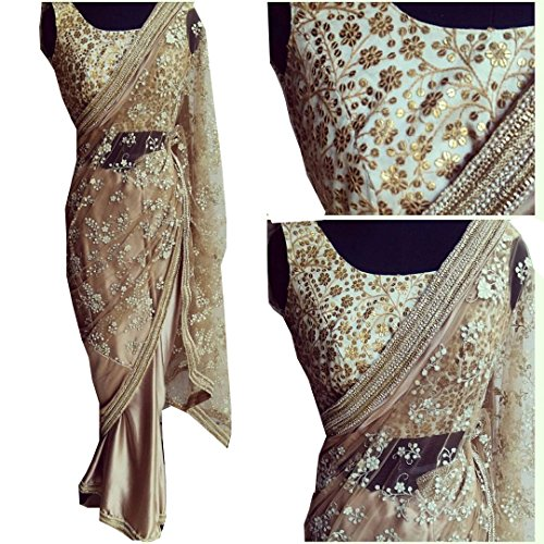 Sunshine Fashion Beige Color Naylon Mono Net Fabric Multiwork Saree ( New Arrival Latest Best Choice and Design Beautiful Sarees and Salwar suits and Dress Material Collection For Women and Girl Par