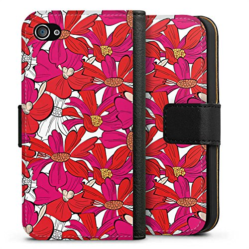 Apple iPhone X Silikon Hülle Case Schutzhülle Blumen Muster zeichnung Sideflip Tasche schwarz