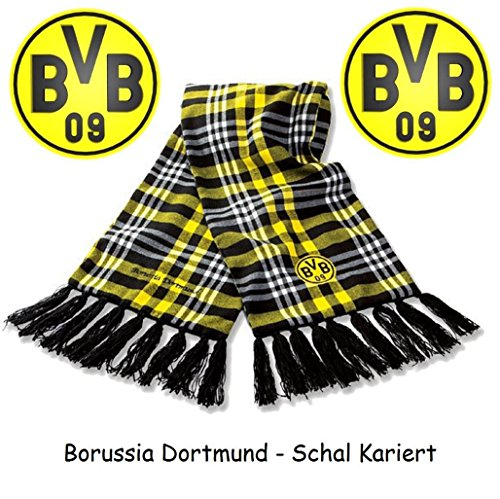 Borussia Dortmund Schal / Scarf / Fanschal - Kariert BVB 09 (Fransen-trikot)