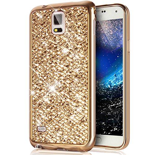 Galaxy Note 4 Hülle,Galaxy Note 4 Handyhülle,ikasus Glänzend Glitzer Bling Diamant Weich Überzug TPU Bumper Handy Hülle Tasche Metallic Chrom Bumper Handyhülle Schutzhülle für Galaxy Note 4,Gold