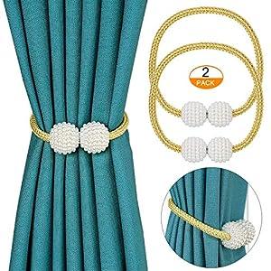 Pinowu Perle Kugel Fenster-Holdbacks mit Magneten für Verdunkelungsvorhänge (2 Stück) – Klassischer Europäer Vorhang…