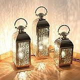 albena shop 75-10 orientalische Lampe Edelstahl Laterne mit Stromanschluss (3er-Set: Sadi Gr.S + Gr.M + Gr.L)