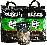 BlackSellig 20 Kg Beach Kokos Grill Briketts reine Kokosnussschalen Grillbriketts REACH registriert + 1x360 gr.Smokerchips aus Eichenfässern- perfekte Profiqualität