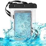 """kwmobile Borsa impermeabile da spiaggia per tablet da 7-8"""", Protezione acqua e sabbia, Nero/Trasparente, 22 x 15.7 cm"""