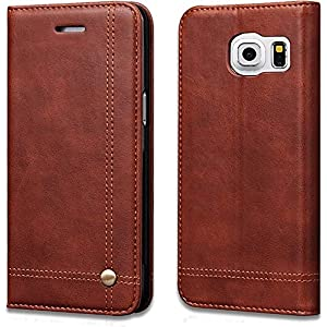 Cubix Magnetic Leather Wallet Slim Folio Book Cover with Credit Card Slots Cash Pocket Flip Cover for Samsung Galaxy S7 Edge - Brown