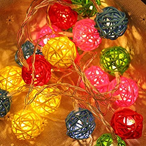 xiuxiandianju Globe Rattan Ball Lights, Goodia2.3 m 20 LEDs de tête Lumière pour Noël Intérieur, Chambre, Rideaux, Patio, Pelouse, Paysage, Jardin des fées, Maison, Mariage, Vacances, Arbre de Noël, Fête