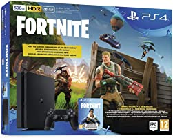 Sony PlayStation 4 Slim 500GB Console with 1Dual Shock4 Wireless Controller and Fortnite - Black