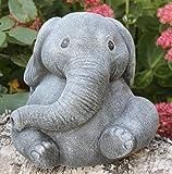 Statue en pierre éléphant, gris ardoise, pierre reconstituée