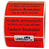 Aufkleber - Vorsicht zerbrechlich! Caution! Breakable! - 100 x 50 mm - 500 Stück auf Rolle, leuchtrot, permanent haftend - Versandetikett, Warnetikett, Paketaufkleber