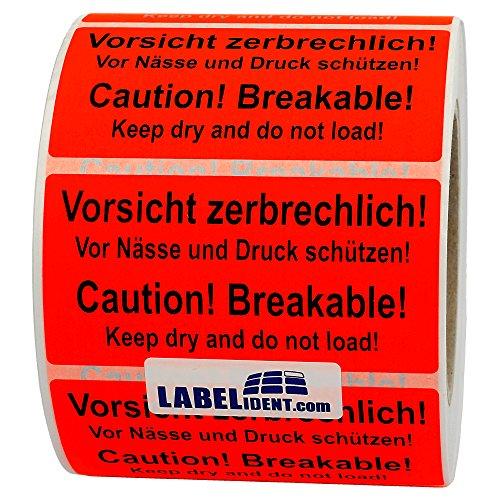 Labelident Versandetikett - Vorsicht zerbrechlich! Caution! Breakable! - 100 x 50 mm, 500 Aufkleber auf Rolle, Papier leuchtrot, selbstklebend