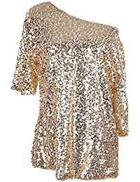 Anna-Kaci mujer Lentejuela brillante del bordado del cordón chaleco T shirt Blusas Camisas Tops
