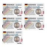 Set - 5 Münzkarten (ohne Münze) für 2-Euro Gedenkmünze Deutschland A-J 2013 Elysee-Vertrag vorgestanztes Münzbild Größe: 85 x 54mm pro Karte