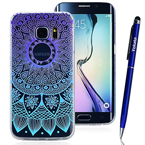 Samsung Galaxy S6 Edge Hülle, Yokata TPU Silikon Weich Cover Durchsichtig mit Gradient Mandala Tribal Muster Case 1 x Kapazitive Feder Iphone 6 Hello Kitty Case Bling