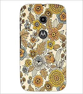PrintDhaba Floral Design D-1443 Back Case Cover for MOTOROLA MOTO E2 (Multi-Coloured)