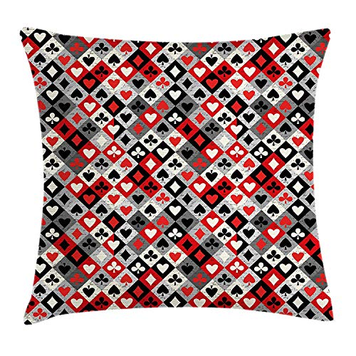 Casino Throw Pillow Cushion Cover, Checkered Rhombus Pattern with Playing Card Icons Grunge Display Gaming Club Theme, Decorative Square Accent Pillow Case, 24 X 24 Inches, Multicolor