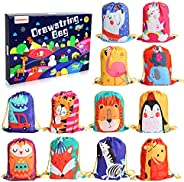 BeebeeRun Animals Kids Party Bags 12 PCS Candy Goodie Bags Reusable Drawstring Bags ,Gift Bags for Kids Girls