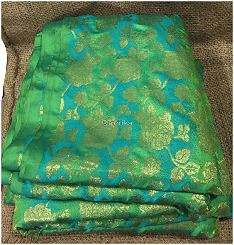 Kurti Material Blouse Fabric by meter soft blue green gold soft jaquard...