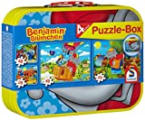 Schmidt Spiele 55594 Benjamin Blümchen, Puzzle-Box im Metallkoffer, 2x26 und 2x48 Teile Kinderpuzzle, bunt