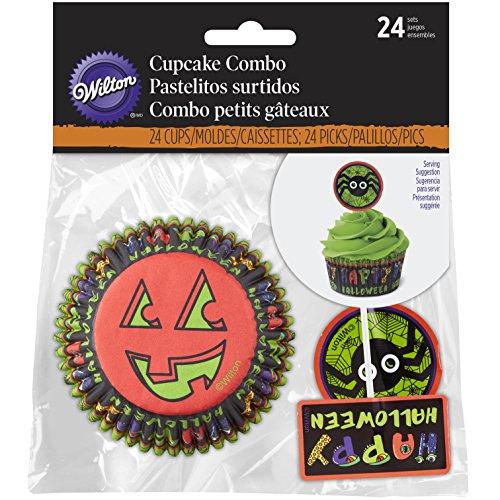 Wilton Cupcake Combo Jack N Ghouls - 24 Stück Muffinformen + 24 Zierfähnchen - Halloween