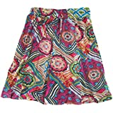 Mogul Interior Womens Mini Skirt Pink Floral Printed Cotton Bohemian A- Line Skirts S