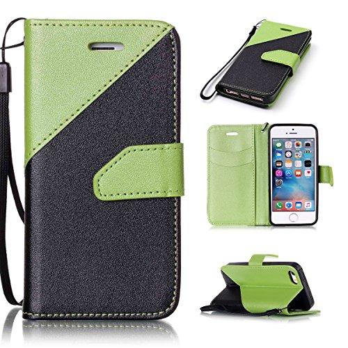 iPhone SE 5SE 55S Case, Case First due colori design PU pelle portafoglio Case Cover Flip Cover con Cinturino da Polso e Card Slot per iPhone SE 5SE 55S Grün + Schwarz