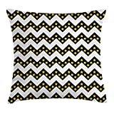 FAFANI Chevron Throw Pillow Cushion Cover, Black Zig Zag Chevron Pattern with Inner Stars Parallel Striped Lines Art Print, Decorative Square Accent Pillow Case, 18 X 18 Inches, White Yellow