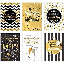 Set 6 exklusive Geburtstagskarten mit feiner Goldprägung und Umschlag. Glückwunschkarte Grusskarte zum Geburtstag. Geburtstagskarte Karte Mann Frau (Doppelkarten/Klappkarten mit Briefumschlag)