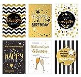 Set 6 exklusive Geburtstagskarten mit feiner Goldprägung und Umschlag. Glückwunschkarte