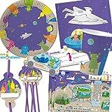 90-teiliges WELTRAUM PARTY SET für Kindergeburtstag mit 6-8 Kinder: Teller, Becher, Servietten, Einladungen, Trinkhalme, Platzsets, Luftballons, Luftschlangen u.v.m. von DH-Konzept // Geburtstag Kinder Party Alien Kinderparty Ufo Space Weltall All