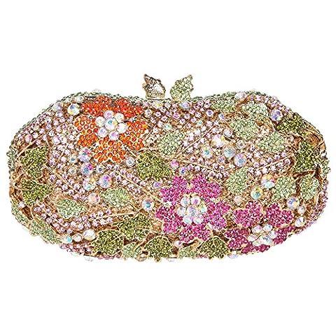 Bonjanvye Studded Flower Leaves Bling Crystal Evening Bags Flower Clutch Bag Multicolor