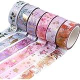Hileyu Washi Tape Ruban Adhésif Papier Décoratif Masking Tape pour Scrapbooking Artisanat de Bricolage (6 Rouleaux)