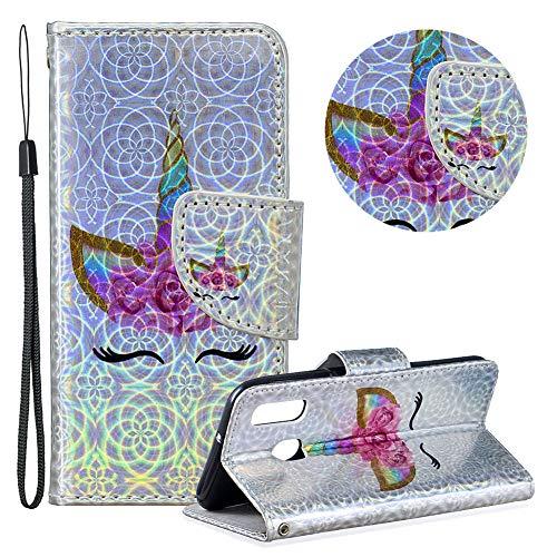 Gurt Brieftasche für Samsung Galaxy A40,Laser Wallet Handyhülle für Samsung Galaxy A40,Moiky Ultra Dünn Stilvoll Wimper Blume Muster Geprägt Klappbar Stand Silikon Handytasche