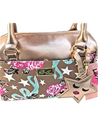 Luv Betsey Crossbody Mini-Barrel Satchel Purse Rose Gold Base / Roses & Stars Print