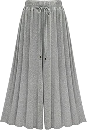 Vdual Pantaloni A Gamba Larga Donna Vita Elastica Pantaloni Capri Con Tasche